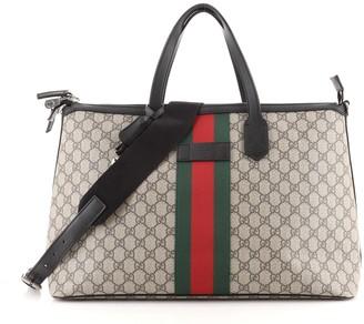 Gucci Web Duffle Bag GG Coated Canvas Medium