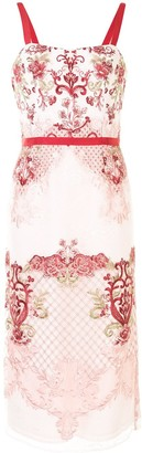 Marchesa 3D floral embroidered dress