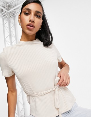 Club L London ribbed t-shirt set in cream