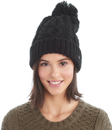 LOLA Cosmetics Black Cable-Knit Pom-Pom Beanie