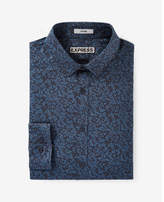 Express Fitted Floral Print Long Sleeve Dress Shirt