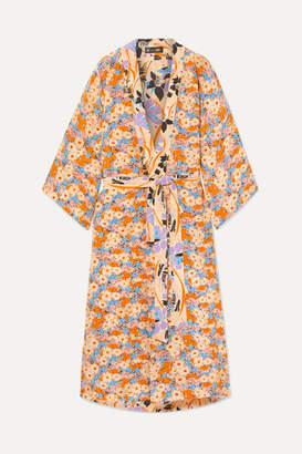 Stine Goya Nat Reversible Floral-print Silk Crepe De Chine Kimono - Yellow