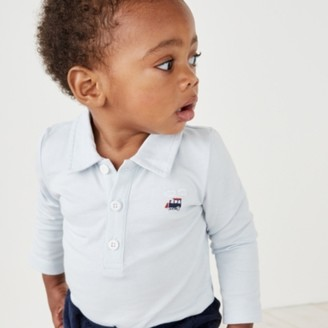 The White Company Train Embroidery Bodysuit, Blue, 12-18mths