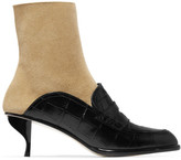 Loewe Croc-effect Leather And Suede Ankle Boots - Black