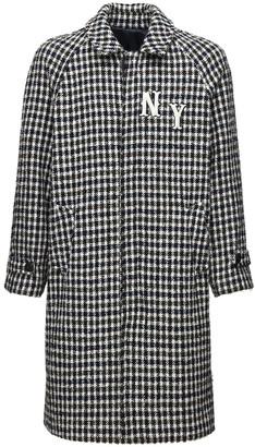 Front Street 8 Checkered Wool Blend Long Coat