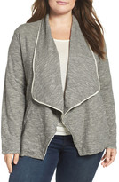 Caslon Knit Drape Front Jacket (Plus Size)