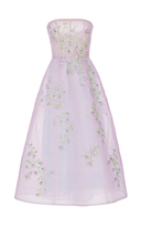 Monique Lhuillier Floral Embroidered Strapless Gown