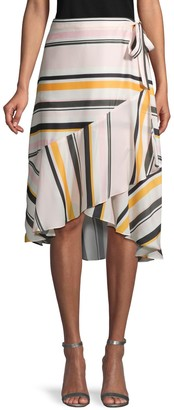 Ava & Aiden Striped High-Low Ruffle Wrap Skirt