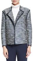 Lafayette 148 New York Dane Collarless Asymmetric Woven Jacket, Ink Multi