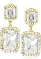 Leslie Danzis Tone Modern Square Earrings with Cubic Zirconia 1.5""