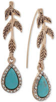lonna & lilly Gold-Tone Pave & Colored Stone Leaf Drop Earrings