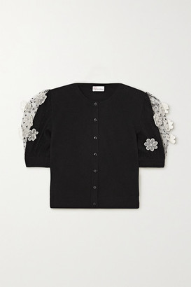 RED Valentino Appliqued Point D'esprit Tulle-trimmed Knitted Cardigan