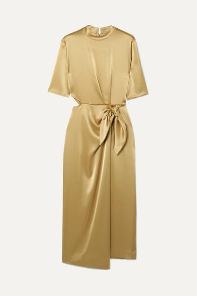 Nanushka Saffron Cutout Metallic Satin Midi Dress - Gold