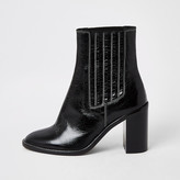 River Island Black leather constrast stitch gusset boots
