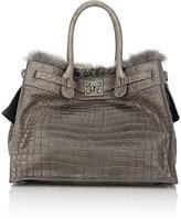 Zagliani Women's Crocodile & Fox-Fur Gatsby Large Tote-Grey