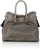 Zagliani WOMEN'S CROCODILE & FOX-FUR GATSBY LARGE TOTE