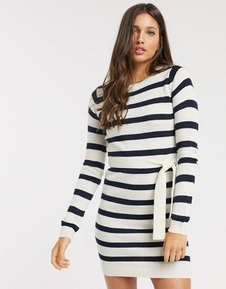 Brave Soul miami belted jumper dress in stripe