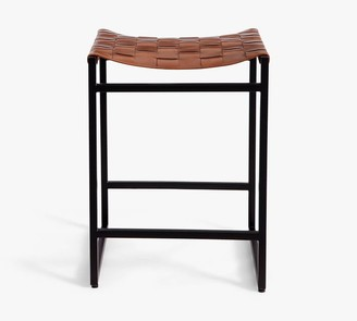 Pottery Barn Hardy Woven Leather Backless Bar & Counter Stools