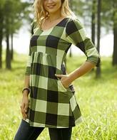Reborn Collection Women's Tunics Olive - Olive & Light Green Plaid Empire-Waist Tunic - Women & Plus