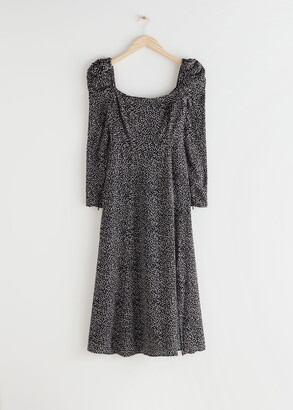 And other stories Satin Square Neck Midi Dress
