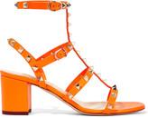 Valentino Rockstud neon leather sandals