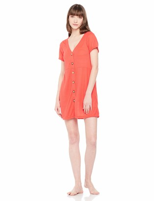 Selene Women's Soft Pajama Dress V-Neck Single Breasted Nightgown Red S
