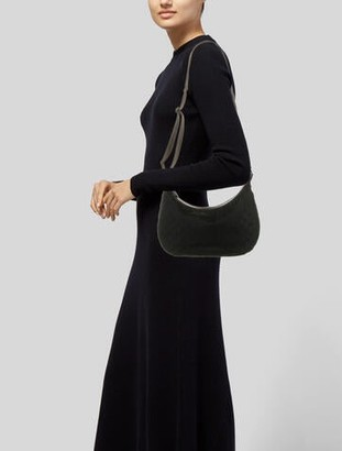 Gucci Leather-Trimmed GG Canvas Messenger Bag Black