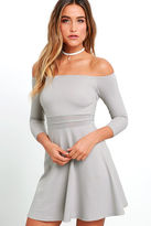 LuLu*s Yes to the Mesh Grey Skater Dress