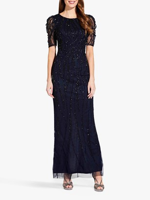 Adrianna Papell Beaded Long Dress, Midnight