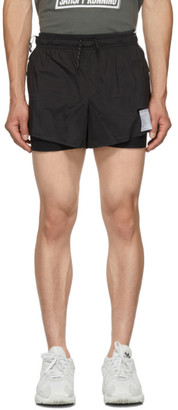 Satisfy Black Long Distance 3 Inches Pocket Shorts