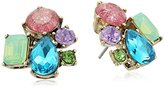 """Betsey Johnson Sweet Shop"""" Mixed Multi-Colored Stone Cluster Button Stud Earrings"""
