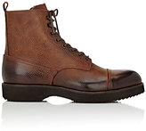 Barneys New York MEN'S BURNISHED LEATHER LACE-UP BOOTS-BROWN SIZE 8 M