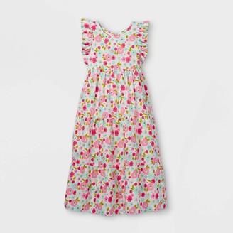 Cat & Jack Girls' Floral Woven axi Short Sleeve Dress - Cat & JackTM Coral/Blue
