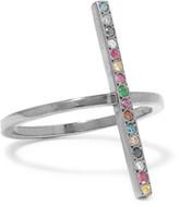 Ileana Makri Gunmetal-Tone Crystal Ring