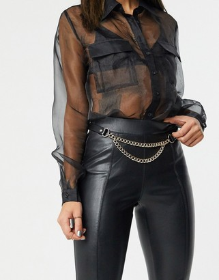 Topshop belt in black with gold chain multi link