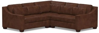 Pottery Barn York Slope Arm Deep Seat Leather 3-Piece L-Sectional