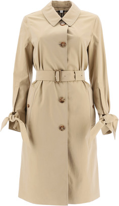 Burberry CLAYGATE MIDI TRENCH COAT 6 Beige Cotton