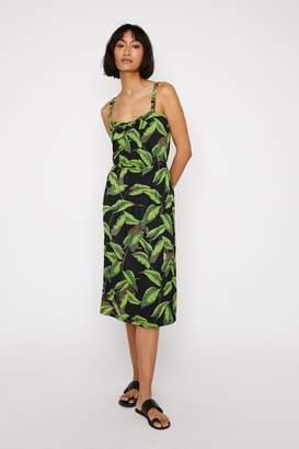 Warehouse Womens Black Banana Leaf Pique Midi Dress - Black