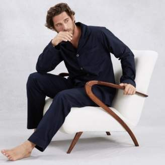The White Company Mens Cotton Piped Pyjama Set, Navy, Large