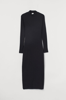 H&M Ribbed Jersey Dress - Black