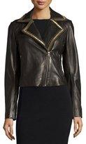 Bagatelle Beaded-Lapel Cropped Leather Moto Jacket, Black