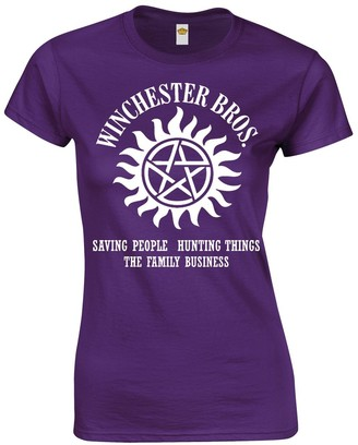 Crown Designs Winchester Brothers Horror Teen Fiction TV Show Inspired Gift for Women & Teenagers Fitted T-Shirts Tops - White/M - 8/10
