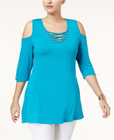 Belldini Plus Size Cold-Shoulder Lace-Up Tunic