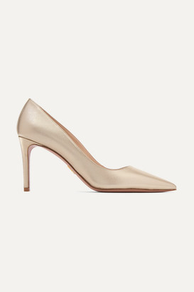 Prada Metallic Textured-leather Pumps - Gold