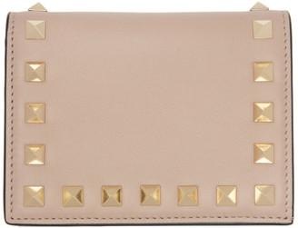 Valentino Pink Garavani Rockstud Flat French Wallet
