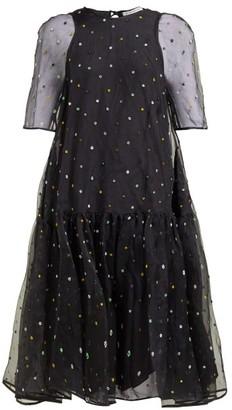 Cecilie Bahnsen - Annabella Floral Beaded Silk Organza Dress - Womens - Black Multi