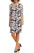 Jessica Howard Cold-Shoulder Floral Sheath Dress