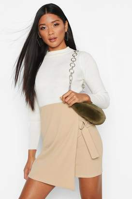 boohoo Wrap Front D-Ring Mini Skirt