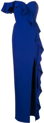 Aidan Mattox Asymmetric Ruffled Gown