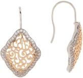 Candela Two-Tone CZ Filigree Kite Dangle Earrings